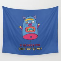 pig Wall Tapestries featuring pig by PINT GRAPHICS