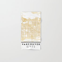 VANCOUVER CANADA CITY STREET MAP ART Hand & Bath Towel