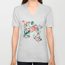 Botanical Winter Wonder with Christmas cactus, Snow Flake, Pine Cones and Holly Unisex V-Neck