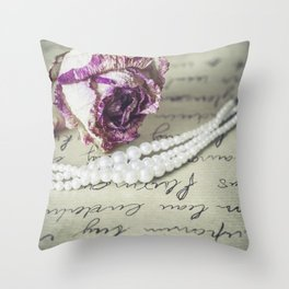 love letter with pearls and rose Throw Pillow