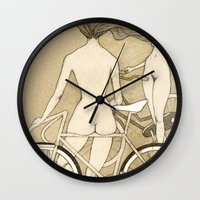 booty Wall Clocks featuring Bike Booty by Renee Staeck