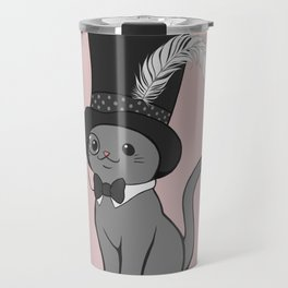 Grey Cat Wears Plumed Top Hat Travel Mug
