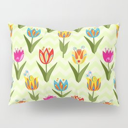 Decorative fantasy tulips on a chevrons background Pillow Sham