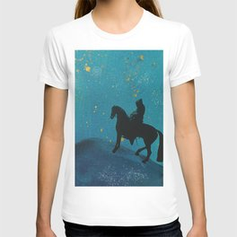Knight in blue in the starry night T-shirt
