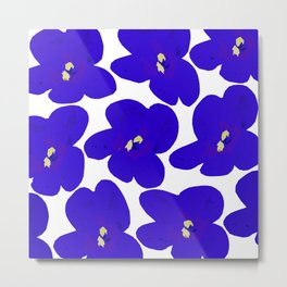 Blue Retro Flowers #decor #society6 #buyart Metal Print