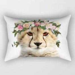 Baby Cheetah With Flower Crown, Baby Animals Art Print By Synplus Rectangular Pillow