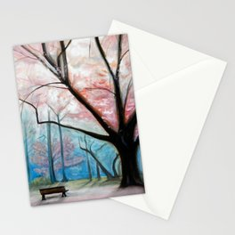 Trees pink and blue Stationery Cards