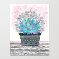 succulent Canvas Prints featuring succulent by Asja Boros