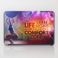 crossfit iPad Cases featuring CrossFit - Life Begins At the Edge of Your Comfort Zone. by Carlz James Söda