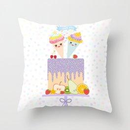 I love you Card design - Birthday, valentine's day, wedding, engagement. Sweet cake,  Kawaii Throw Pillow