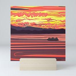 Seattle Sunset on Fire by Linda Sholberg Mini Art Print