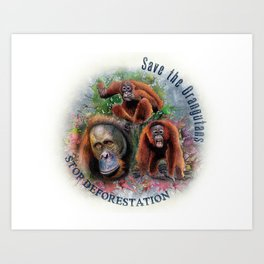 Save the Orangutans Watercolor Illustration Art Print