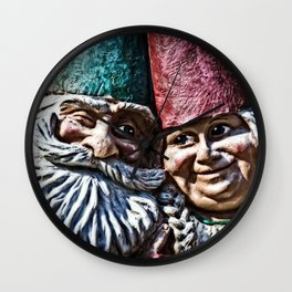Garden Gnome Couple Wall Clock