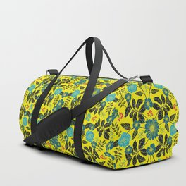 Bright Yellow, Red, Turquoise & Navy Blue Floral Pattern Duffle Bag