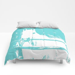 White Horse - Turquoise Comforters