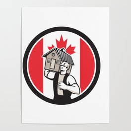Canadian House Removal Canada Flag Icon Poster