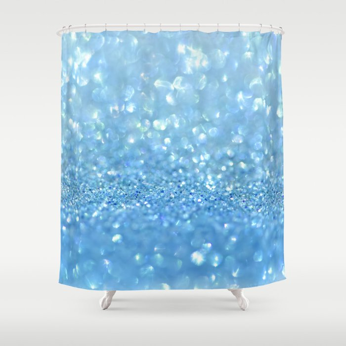 Sparkling Baby Sky Blue Glitter Effect Shower Curtain