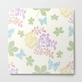 Spring Floral Seamless Pattern Metal Print