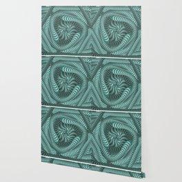 Mint green stripe illusion design Wallpaper