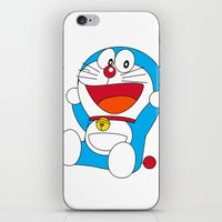 doraemon iPhone & iPod Skins featuring Happy DORAEMON #1 by Timeless-Id