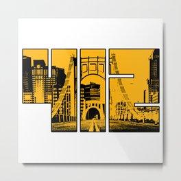 Pittsburgh 412 Steel City Skyline Pennsylvania Home Pride Print Metal Print