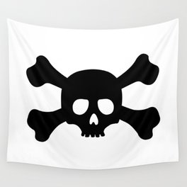 Simple Black Skull and Crossbones Wall Tapestry