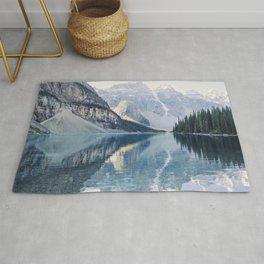 Sunrise Reflections - Moraine Lake, Banff Mountain Landscape Photography Rug