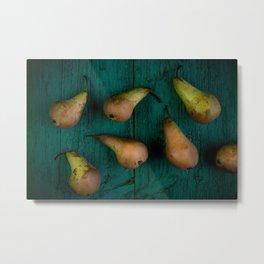 Pears on rustic wooden board Metal Print