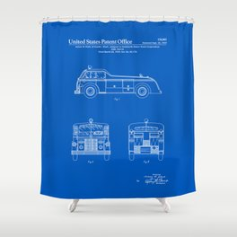 Firetruck Patent - Blueprint Shower Curtain