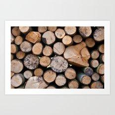 Pine wood logs Art Print