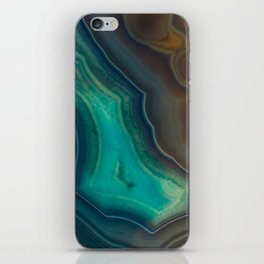Lake Like Teal & Brown Agate iPhone Skin