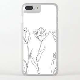Botanical illustration line drawing - Three Tulips Clear iPhone Case