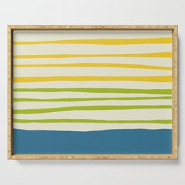 Playing with Strings - Line Art - Blue, Green, Yellow Serving Tray