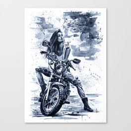 Biker Girl Canvas Print