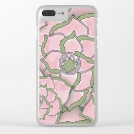 Pretty Pink Flower Collage Clear iPhone Case