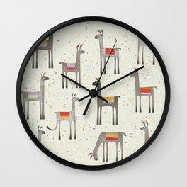 Llamas in the Meadow Wall Clock