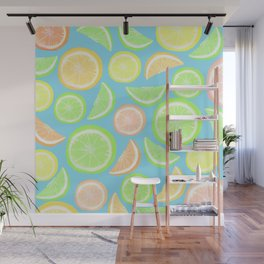 Mixed Citrus - blue Wall Mural
