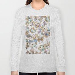 Vintage blush lavender brown teal blue roses floral Long Sleeve T-shirt