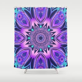 The floral kaleidoscope in pink, purple, blue and turquoise Shower Curtain