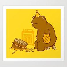 Birthday Bear Art Print
