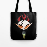 gurren lagann Tote Bags featuring All for one [Gurren Lagann] by Juliet García