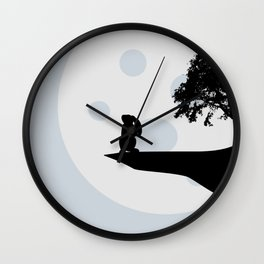 Bunny and Moon Silhouette Wall Clock