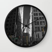 detroit Wall Clocks featuring Detroit  by Galaxys_Limit