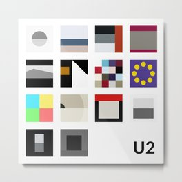 Minimalist U2's History - White Metal Print
