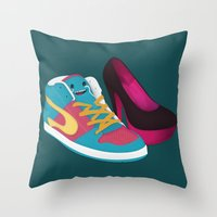 shoe Throw Pillows featuring Shoe Lovin' by mrbiscuit