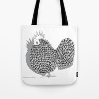 funky Tote Bags featuring Zentangle  Illustration - Funky Chicken by Vermont Greetings