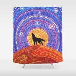 Night of the Wandering Wolf Shower Curtain