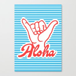 Aloha, Shaka Hand, blue version, summer poster, Canvas Print