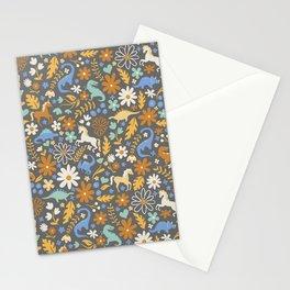 Dinosaur + Unicorns in Blue + Umber Stationery Cards