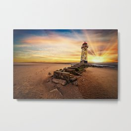 Lighthouse Sunset Wales Metal Print